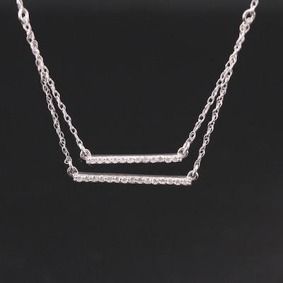 14K White Gold Diamond Double Bar Necklace