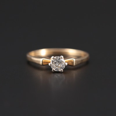 14K Yellow Gold 0.38 CT Diamond Solitaire Ring