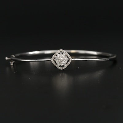 Sterling Silver Diamond Hinged Bracelet