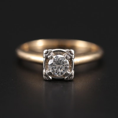 Vintage 14K Yellow Gold 0.32 CT Diamond Solitaire Ring with White Gold Accent