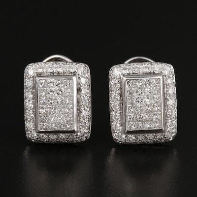 14K White Gold 3.96 CTW Diamond Earrings