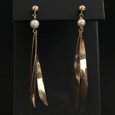 14K Yellow Gold Pearl Dangle Earrings