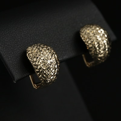 14K Yellow Gold J-Hoop Earrings with Diamond Cut Accents