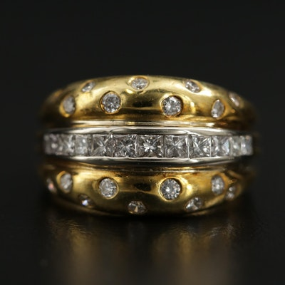 18K Yellow Gold 1.00 CTW Diamond Ring With 18K White Gold Accents