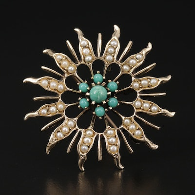 14K Yellow Gold Turquoise and Seed Pearl Sunburst Converter Brooch