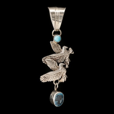 Running Bear Shop Southwestern Style Sterling Silver Topaz and Turquoise Pendant