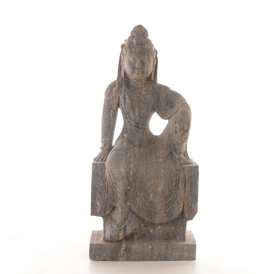 East Asian Seated Guanyin Stone Sculpture