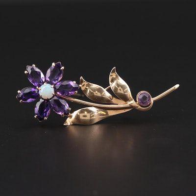 Vintage 14K Yellow Gold Opal and Amethyst Floral Brooch