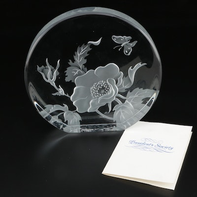 "Arlene Wallach ""Wild Rose"" Presentational Crystal Sculpture, Late 20th Century"