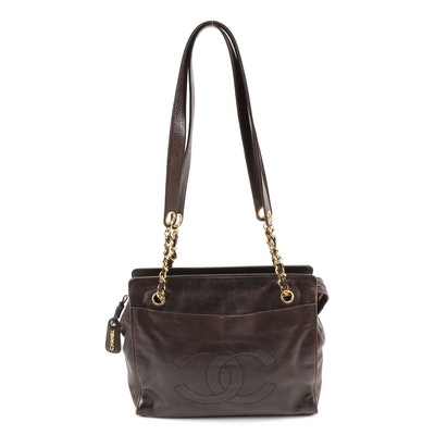 Chanel CC Leather and Chain Shoulder Bag in Brown-Black Lambskin Leather