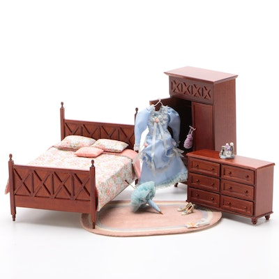 Lee's Lines Dollhouse Miniature Bedroom Set with Victorian Style Dress and More
