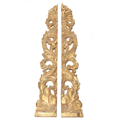 South Asian Gilt Hand Carved Wood Architectural Wall Mount Panels Elephant Motif