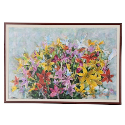 "J.C. Hall Acrylic Painting ""Bouquet of Lilies"""