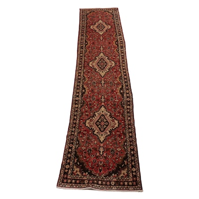 2'7 x 13'6 Hand-Knotted Persian Zanjan Carpet Runner, 1970s