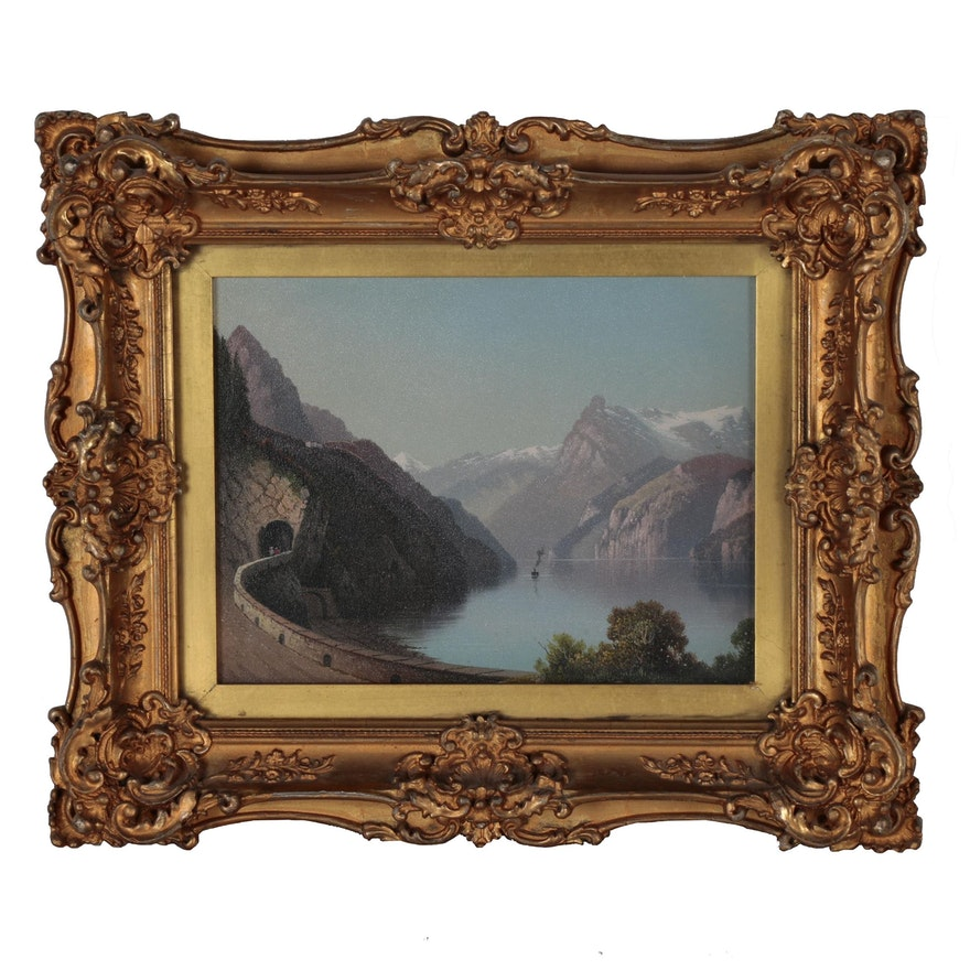 Continental Oil Painting of Alpine Lake Scene, Early 20th Century