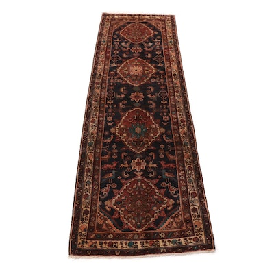 3'6 x 12'4 Hand-Knotted Persian Malayer Pictorial Carpet Runner, 1970s
