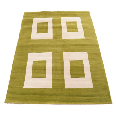 5'0 x 7'4 Hand-Tufted Indo Mid Century Modern Style Rug, 2000s