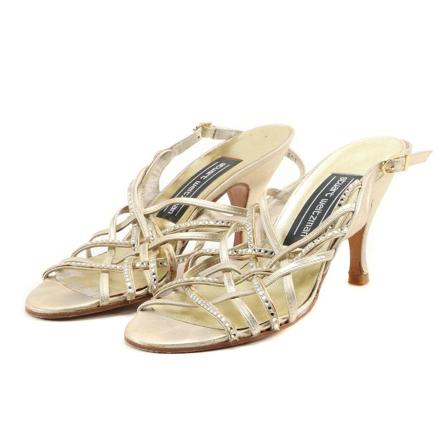 Stuart Weitzman Rhinestone Embellished Strappy Leather Heeled Sandals