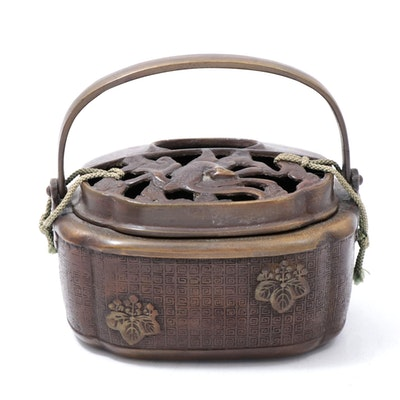 Japanese Bronze Hand Warmer with Handle, Meiji Period