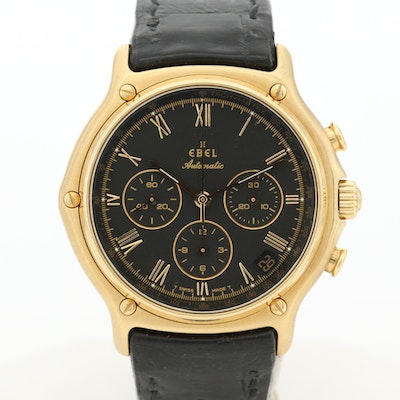 Ebel 1911 18K Yellow Gold Automatic Chronograph Wristwatch