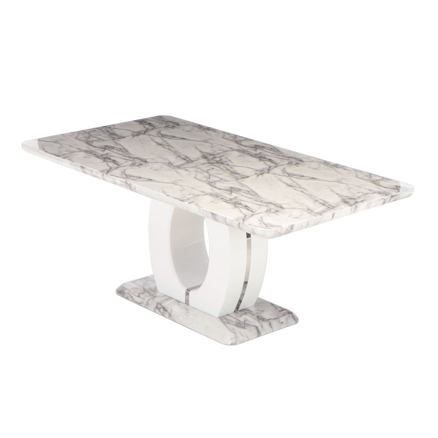 Faux Marble and Acrylic Dining Table, Late 20th Century