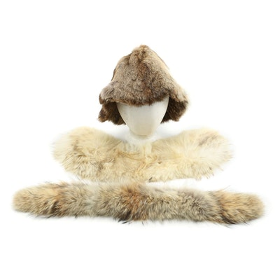Rabbit Fur Hat and Fox Fur Collars