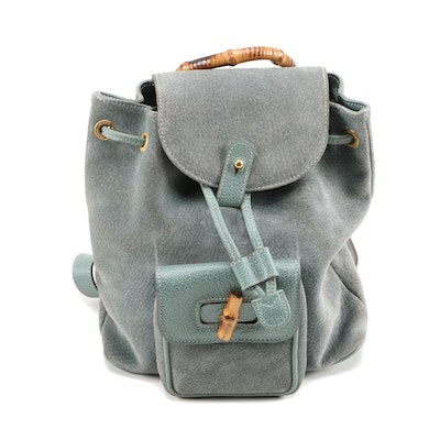 Gucci Mini Bamboo Backpack in Blue-Green Suede and Leather, Vintage