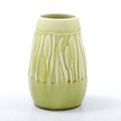 """Rookwood Pottery High Glaze Green """"Cattail"""" Cabinet Vase, 1947"""
