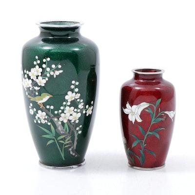 Japanese Ginbari Cloisonné Enamel Vases Featuring Sato