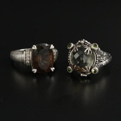 Sterling Silver Smoky Quartz and Peridot Rings Including Judith Ripka