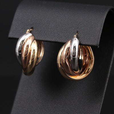 14K Yellow, White and Rose Gold Hoop Earrings