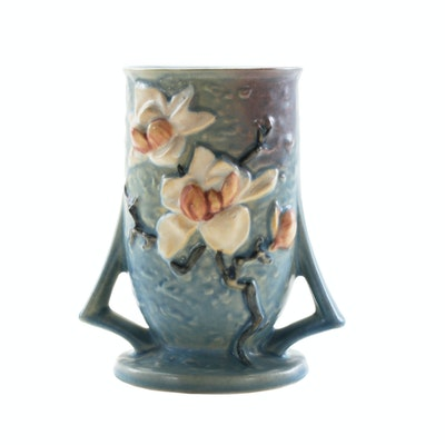 "Roseville Pottery Blue ""Magnolia"" Two-Handled Vase, 1940s"