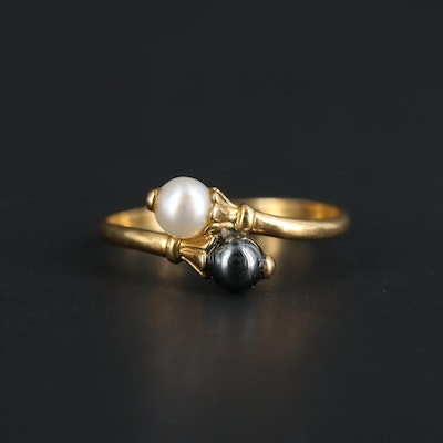 French 18K Yellow Gold Pearl and Hematite Bypass Ring