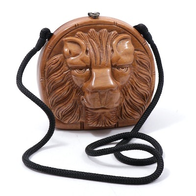 Timmy Woods of Beverly Hills Carved Acacia Wood Lion Head Handbag