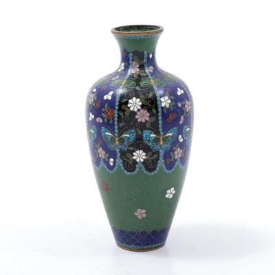 Japanese Cloisonné Enameled Butterfly Vase with Crushed Glass