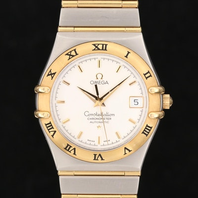 Omega Constellation 18K Gold and Stainless Steel Automatic Wristwatch