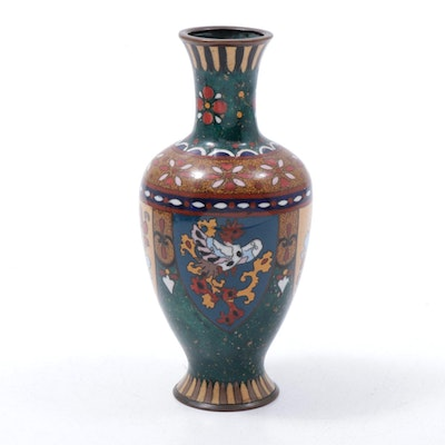 Japanese Cloisonné Enamel with Crushed Glass Vase, Meiji Period