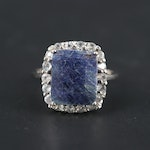 10K White Gold Blue Sapphire and Topaz Ring