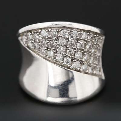 14K White Gold Diamond Concave Ring