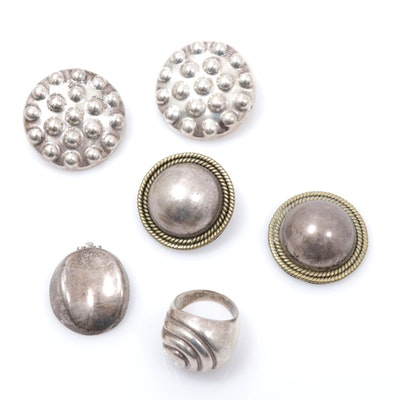 Sterling Silver Ring and Earrings Including Taxco