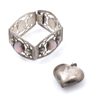 Vintage Mexican Sterling Silver Bracelet and Puffy Heart Pendant
