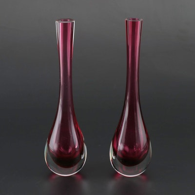 Pair of Cased Cranberry Art Glass Bud Vases