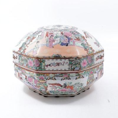 Large Chinese Rose Medallion Porcelain Box