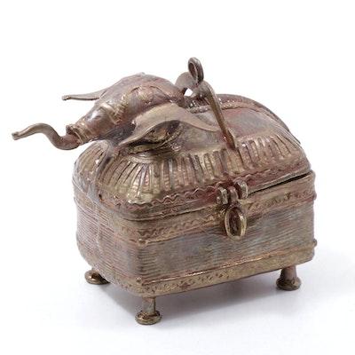 Indian Brass Elephant Box, Late 20th Century