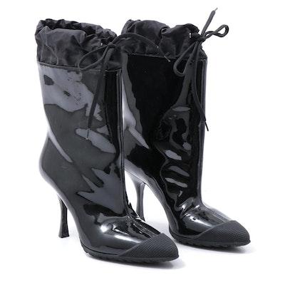 Miu Miu Patent Leather Cap-Toe High Heel Drawstring Rain Boots in Black