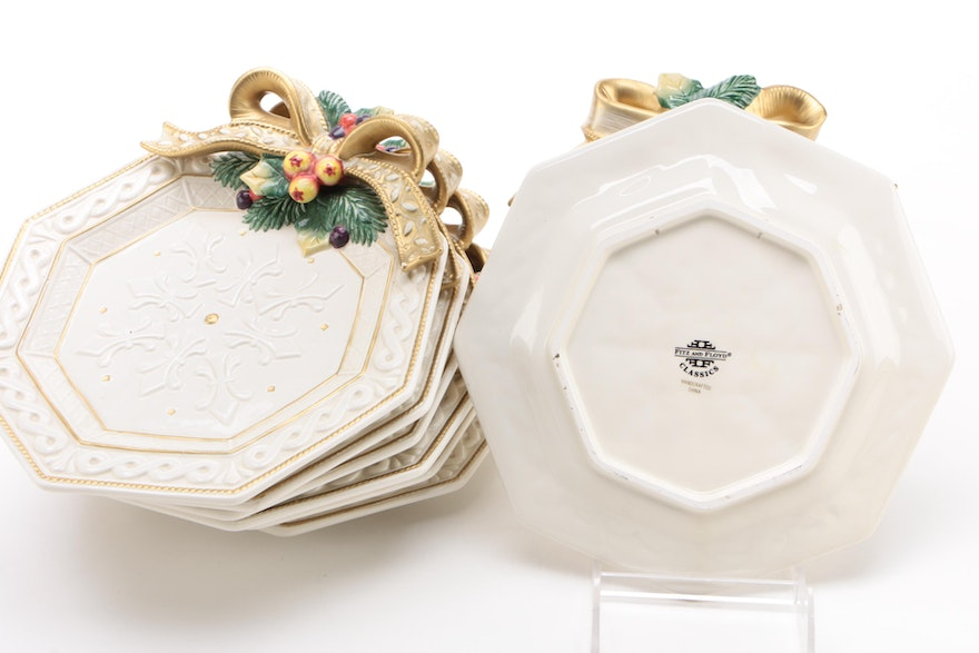 "Fitz & Floyd ""Snowy Woods"" Ceramic Serveware And Table"