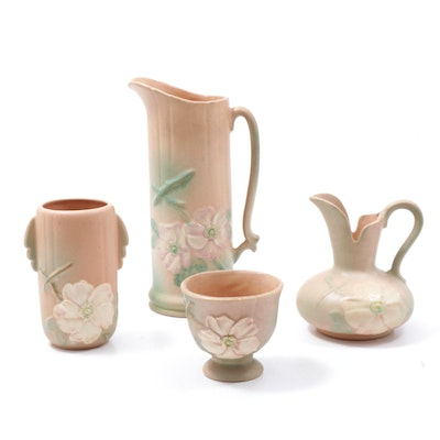 "Weller Pottery ""Dogwood"" Pitchers, Bowl and Vase, Mid to Late 20th Century"
