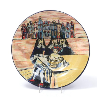 Hand-Painted Art Pottery Bowl