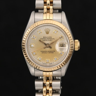 1988 Rolex 18K Gold and Stainless Steel Datejust Diamond Automatic Wristwatch