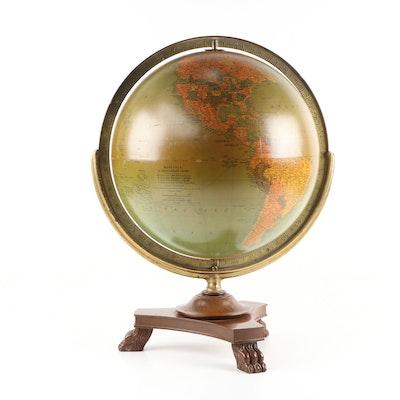 "Replogle 16"" Library Globe, Cartographer Gustav Brueckmann, Mid-20th Century"